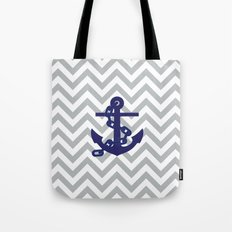 Anchor on Grey Chevron Pattern Tote Bag