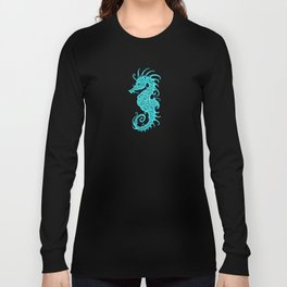 Intricate Teal Blue Tribal Seahorse Design Long Sleeve T-shirt