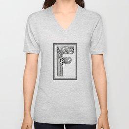 Zentangle F Monogram Alphabet Illustration Unisex V-Neck