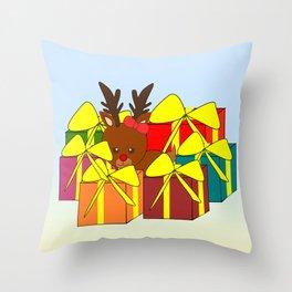 Cute reindeer hiding behind Christmas gifts Throw Pillow