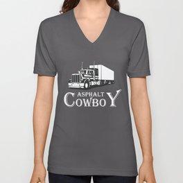Funny Trucker Gift   Asphalt Cowboy Unisex V-Neck