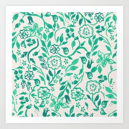 Teal Boho Floral Art Print