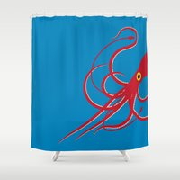 squid Shower Curtains featuring Squid by Mark Walker