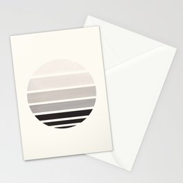 Grey Mid Century Modern Minimalist Circle Round Photo Staggered Sunset Geometric Stripe Design Stationery Cards