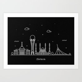 Astana Minimal Nightscape / Skyline Drawing Art Print