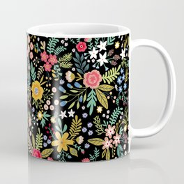 Amazing floral pattern with bright colorful flowers, plants, branches and berries on a black backgro Coffee Mug