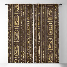 Egyptian hieroglyphs Gold on Brown Leather Blackout Curtain