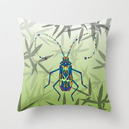 Insect Bamboo leaves Green Unique Pattern Throw Pillow