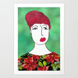 Poinsettia at the Holiday Party Art Print