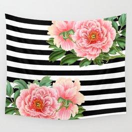 Pink Peonies Black Stripes Wall Tapestry