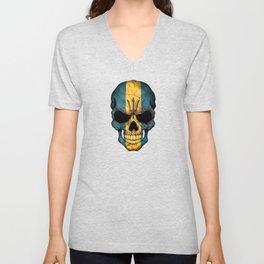 Dark Skull with Flag of Barbados Unisex V-Neck