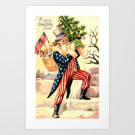 Santa Claus dressed as Uncle Sam Art Print