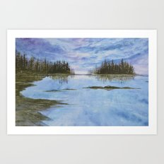 Maine Purple Sunset Cove Print Art Print