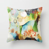 "flora bowley Throw Pillows featuring ""Rainwash"" Original Painting by Flora Bowley by Flora Bowley"