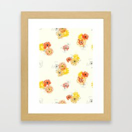 Sun Flowers Floral Pattern Framed Art Print