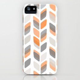 Modern Rectangle Print with Retro Abstract Leaf Pattern iPhone Case