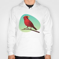 low poly Hoodies featuring Low-poly Red Bird by fortyfive