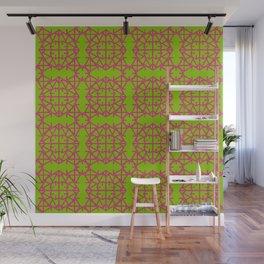 Diamond Bugs Pattern Pink Yarrow - Greenery Wall Mural