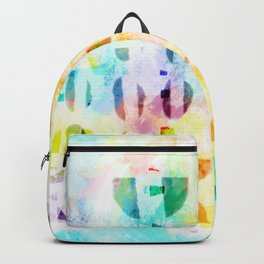 Abstract Puzzle Geos,Watercolor Geometric Painting in Colorful Pastel Backpack
