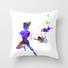 Peter Pan in watercolor Throw Pillow