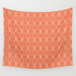 hopscotch-hex tangerine Wall Tapestry