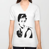hepburn V-neck T-shirts featuring Hepburn by annelise h