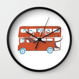Dachshund on a London bus Wall Clock