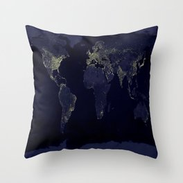 Earth at Night Throw Pillow