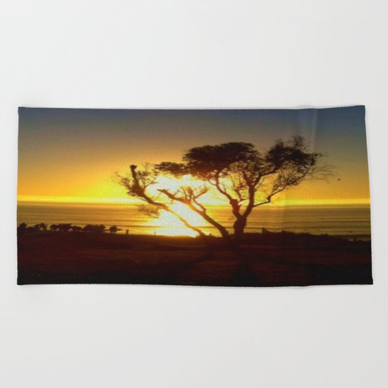 Fire and Water - a California sunset Beach Towel