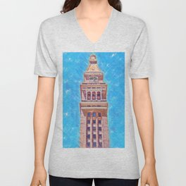 D&F Tower In Pastel Chalk Unisex V-Neck