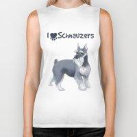 schnauzer Biker Tanks featuring Schnauzer by Bark Point Studio