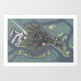 Venice city map engraving Art Print