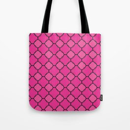 Quatrefoil - Pink & Black Tote Bag