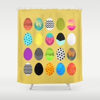 eggs Shower Curtains featuring Easter eggs by Elisabeth Fredriksson