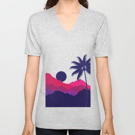 Trees, mountains and Sunset Nature Lover Unisex V-Neck