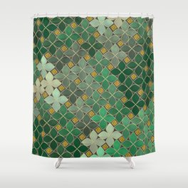 Green flowers Shower Curtain