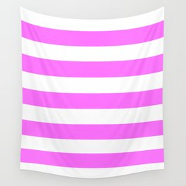 Shocking pink (Crayola) - solid color - white stripes pattern Wall Tapestry