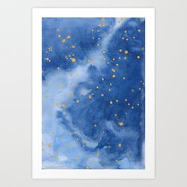 Blue and Gold Starry Night Art Print