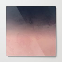 Modern abstract dark navy blue peach watercolor ombre gradient Metal Print