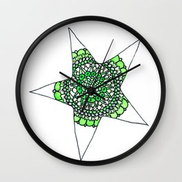 Green Superstar Mandala Star Wall Clock