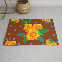 Chocolate Brown Golden Rose Violet Accents Rug