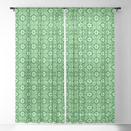 Moroccan Tile, Emerald and Pastel Green Sheer Curtain