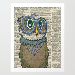 Owl wearing glasses Art Print