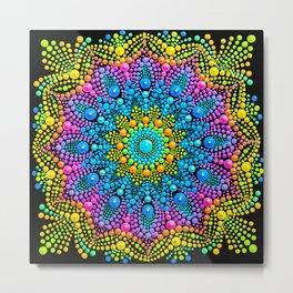 Mandala painting on canvas mini yellow Metal Print