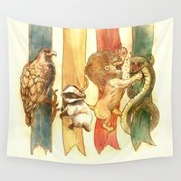 harry potter Wall Tapestries featuring House Brawl by Alice X. Zhang
