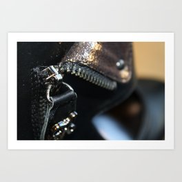 Zipper on a shoe Art Print