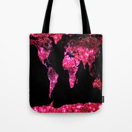 World Map : Pink Galaxy Sparkle Tote Bag