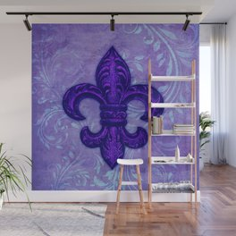 Purple Fleur de Lis Wall Mural