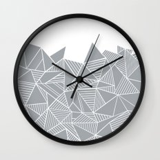 Abstract Mountain Grey on White Wall Clock