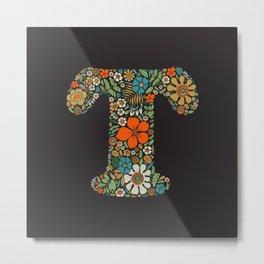 Hippie Floral Letter T Metal Print